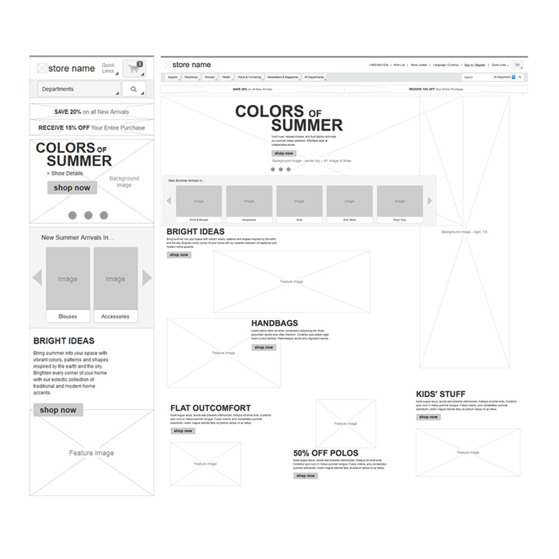 Wireframes for ecommerce